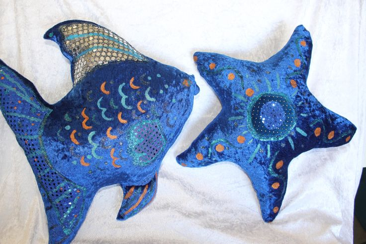 Sunfish and Starfish Cushion Set New Royal Blue Cosy Sweet Bedroom Sofa Pillow Indoor Living Decor #makeforgood  Summer Love Fun Beach Gift by MKCushyCreations on Etsy