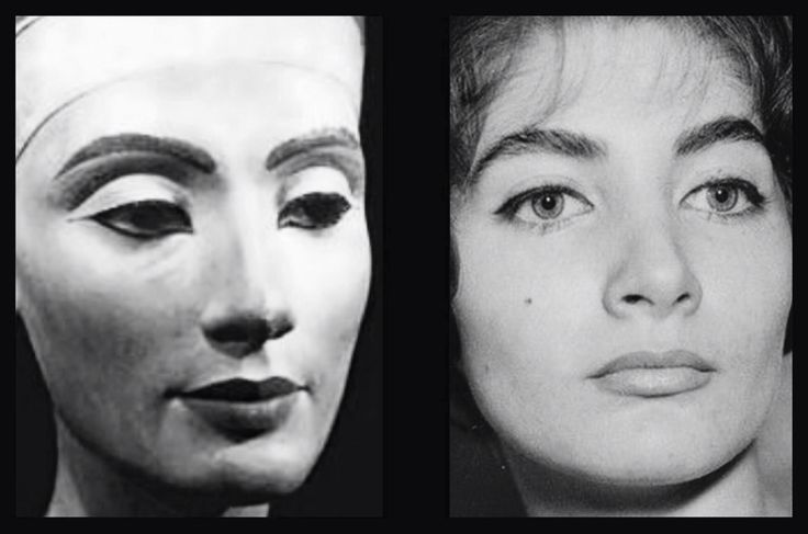 The Iranian Princess Shahnaz Pahlavi, circa 1960s. Note the remarkable similarity to the famous bust of Nefertiti in Berlin.