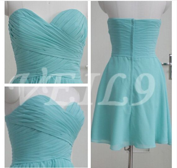 Turquoise Sweetheart Short Tiffany Blue Bridesmaid dress by VEIL9, $89.00