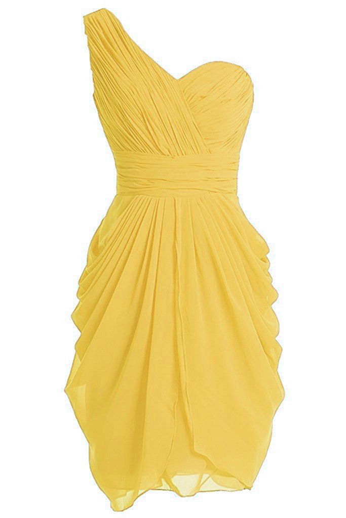 ASBridal Women's Mini Chiffion One Shoulder Evening Prom Dress Pleated Bridesmaid Gown, Yellow, US26W