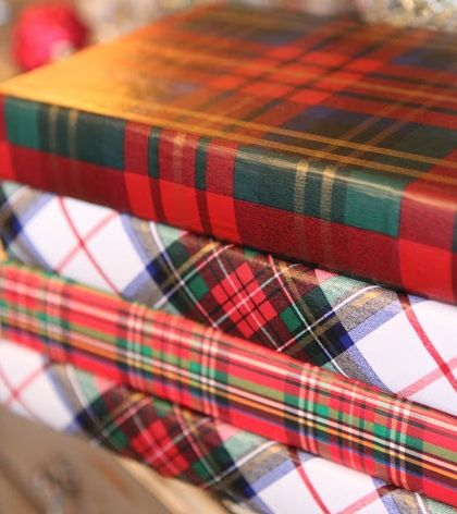 Books decorated with tartan papers via mod podge at Romancing the Home ~~