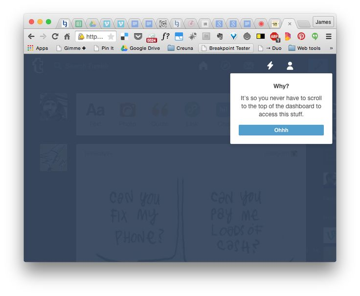 … so I had to ask tumblr 'why' they made this change to the UI. Well, there was a button on the panel to ask why.
