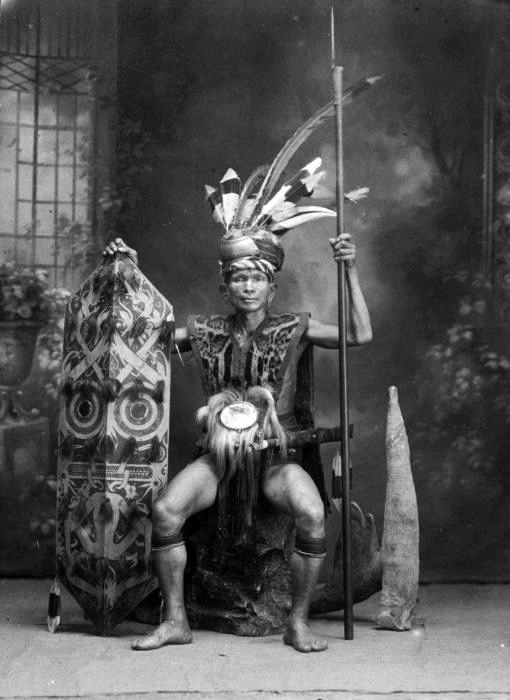 Indonesia ~ Dayak chief, Borneo, The Dayak are the native people of Borneo. It is a loose term for over 200 riverine and hill-dwelling ethnic subgroups, located principally in the interior of Borneo, each with its own dialect, customs, laws, territory and culture, although common distinguishing traits are readily identifiable. Dayak languages are categorised as part of the Austronesian languages in Asia.