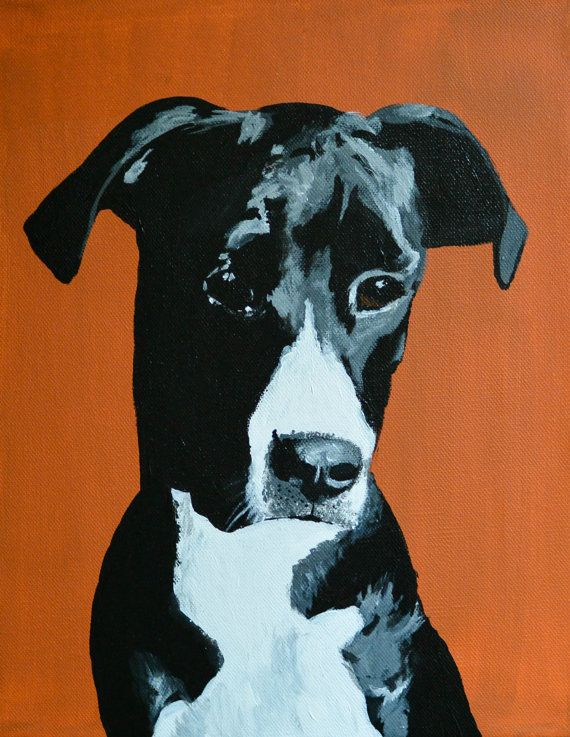 "RESERVED - local orders - Custom Dog Portrait, acrylic, 11"" x 14"" stretched canvas"