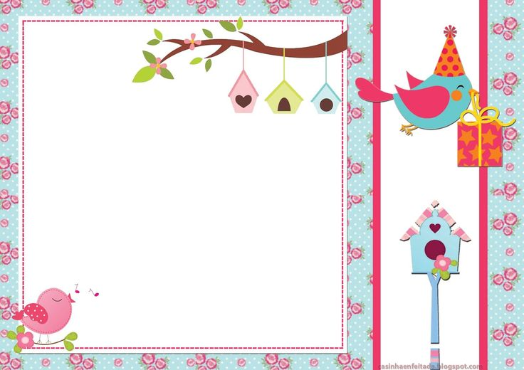 convite aniversário passarinhos imprimir grátis