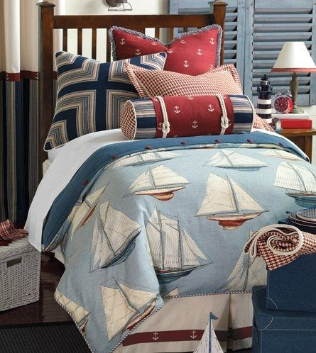 Liberty Yachting Bedding Collection - Luxury fabrics, detailed trimmings and classic nautical design are the hallmarks of the Liberty Yachting Bedding Collection.