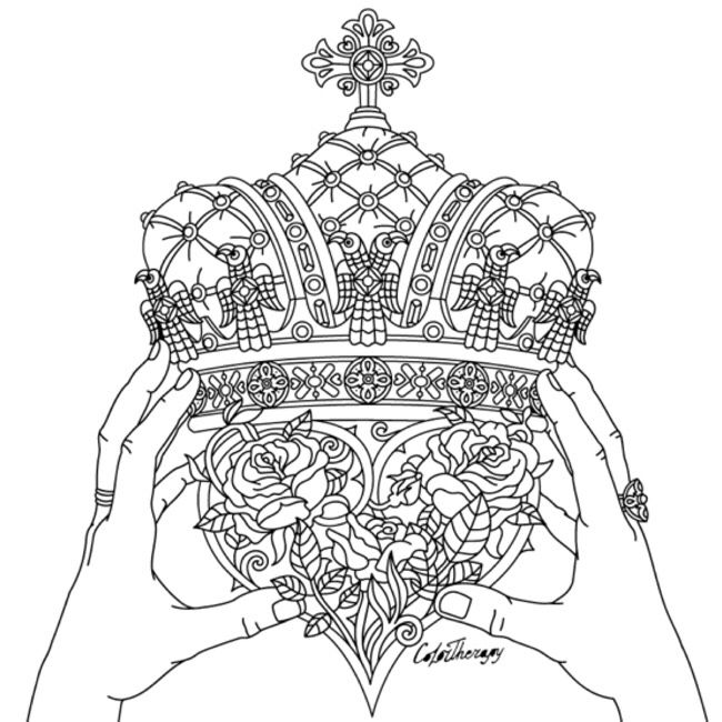 Adult Coloring Pages Sheets Colouring Doodle Art Crowns Lab Therapy Print Paint