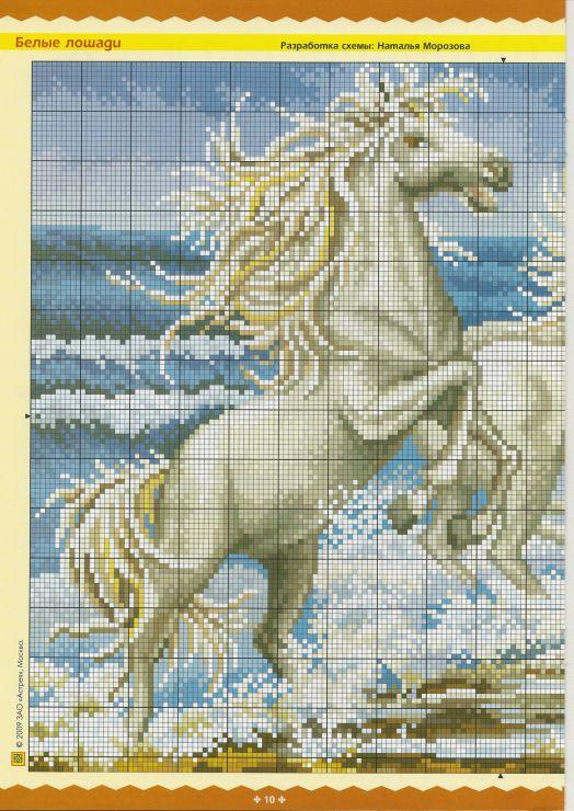 схемы коней лошадей вышивка крестом