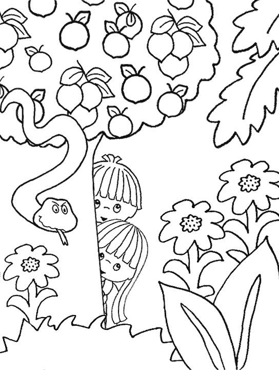 Adam & eve coloring page