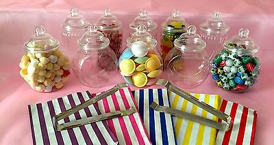 10-x-Plastic-Sweet-Jars-2-x-tongs-50-bags-DIY-Candy-Sweet-Buffet-PARTY-Storage