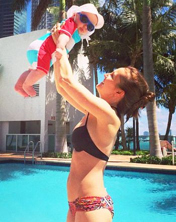 Ashley Hebert revealed her slim post-baby body in a bikini snap on Monday, Mar. 9, debuting her lean physique just five months after giving birth to her son Fordham.