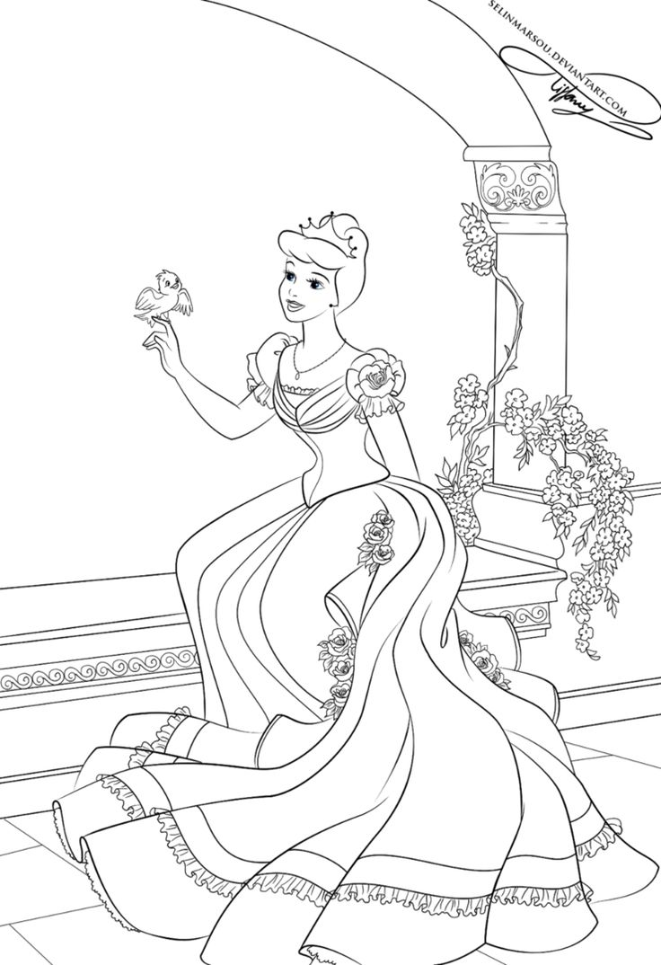 Coloring book disney princess - Lineart Cinderella By Selinmarsou On Deviantart Disney Coloring Pageskids Coloringcoloring Bookprincess