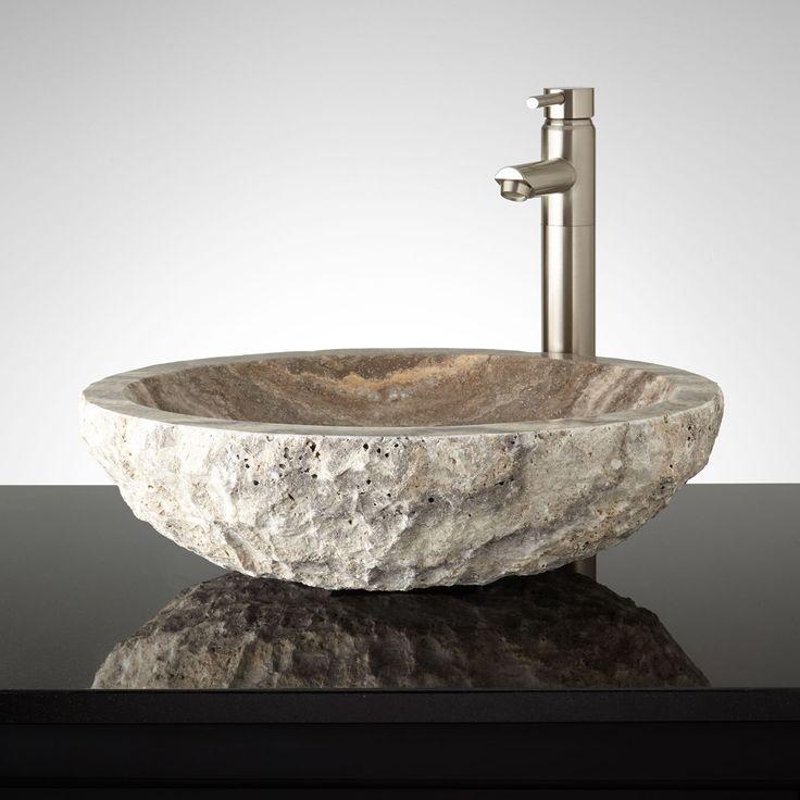 Oval Chiseled Travertine Vessel Sink Bathroom