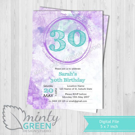 Hey, I found this really awesome Etsy listing at https://www.etsy.com/au/listing/517092091/birthday-invitation-purple-teal