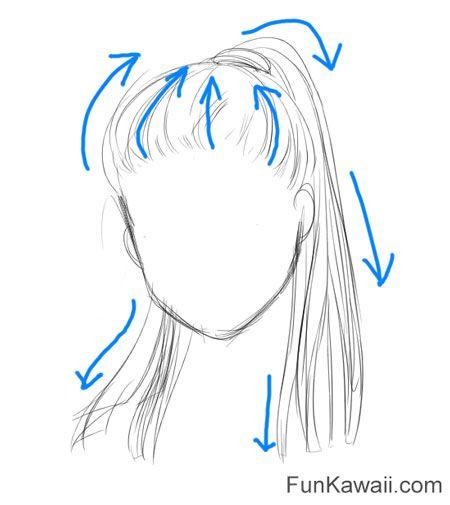 Wie zeichne Anime Haar Frauen Rat. Überlegen Sie, in welche Richtung das Haar fließt.   – Anime