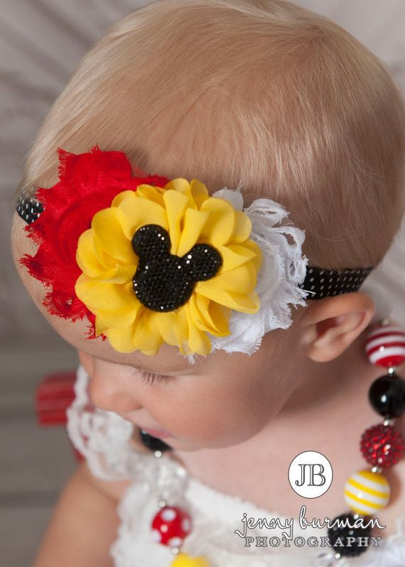 Mickey Mouse Inspired Shabby Chic Headband #Accessories #All #Disney-Inspired-Headbands