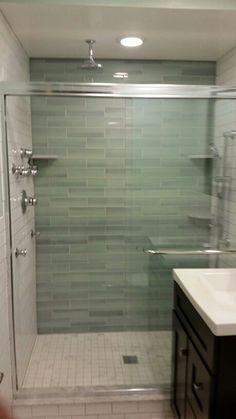 "Done bathroom about 5' x 8' Back wall tile shop New Haven 3"" x 11.75"" Walls Florida tile subway way 130 white 3x 6 note 1/16 bigger than new Haven Floor 13 x 13 naxos legend marble hill Shower floor 2x2 legend Vanity lowes Allen + Roth palencia espresso 24 x 21 Kolher sink top k2956 white American Standard champion 4 round 2 piece white, Drain stop glacier bay pop up homedepot Faucet vigo model vg0138ch available at lowes online. medicine cabinet Pegasus 30h x 24 w espresso. Shower system…"