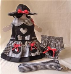 My Heart Harness Dress - Matching Dress, Harness, Hat and Panties 4 piece set