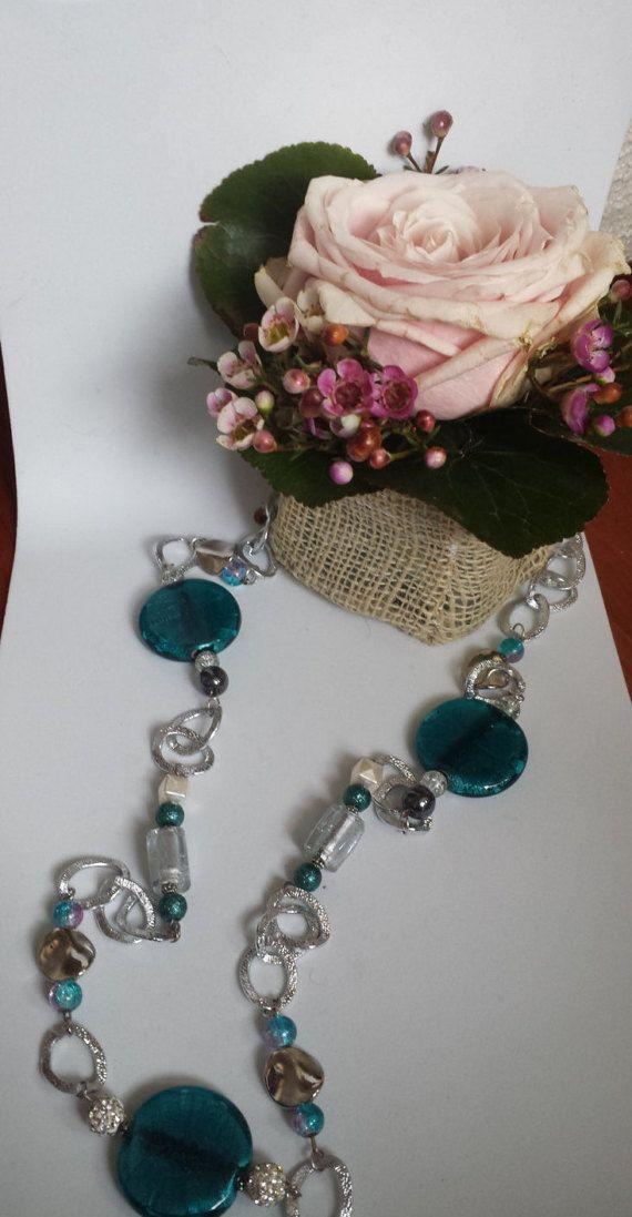 collana lunga semicristalli verdi di Anaherabijoux su Etsy