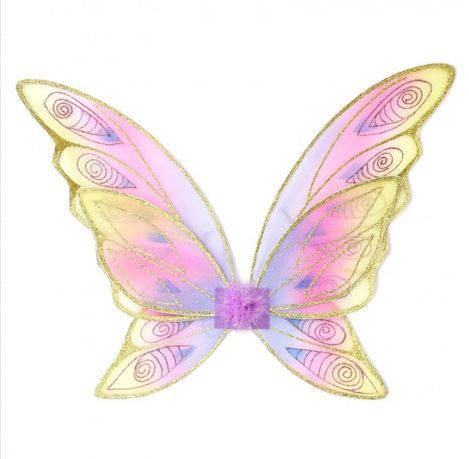 Glitter Rainbow Wings ~ These magical glitter rainbow wings feature a 6 piece construction, boasting a 3-tone base color scheme with a 2-tone glitter accent. Yes, that is a lot of colours (we don't go around calling things 'rainbow' for no reason.) Satin lined elastic guarantees comfort when flying around in them. Height: Approx. 46cm £12.00