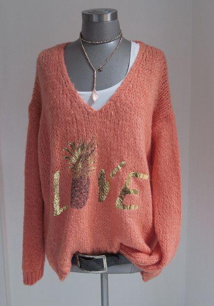 Pullover & Pullunder - XL OVERSIZE GROBSTRICK PULLI LOVE SCHRIFTZUG GOLD - ein Designerstück von secret-of-style bei DaWanda
