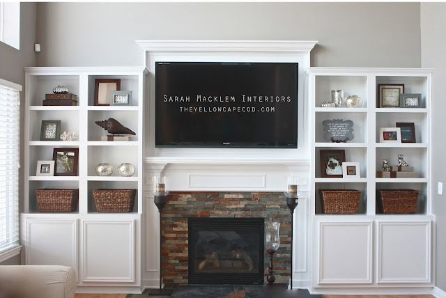fireplace makeover with built ins for the living room. I just cannot handle that river rock look that's there right now!!!