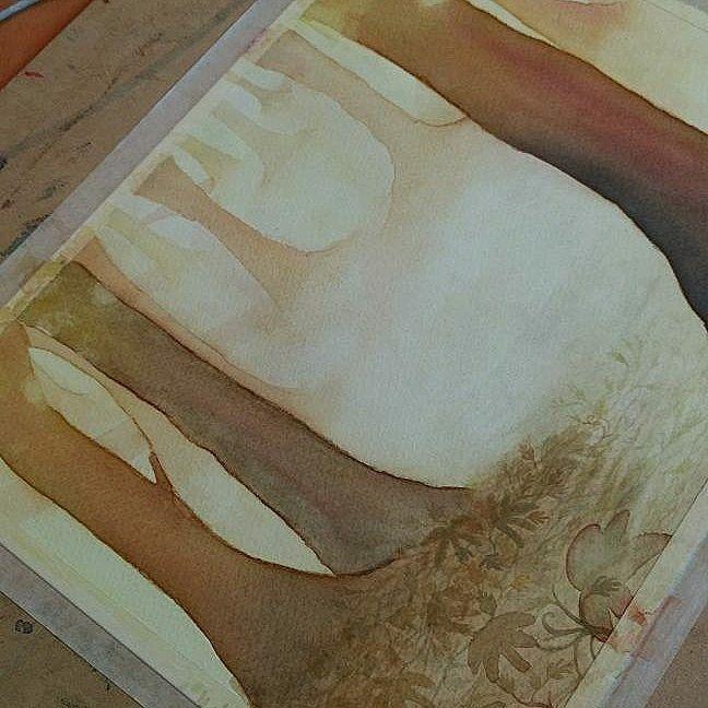 En proceso (aún) 🌳🌲🌳  #topopanda #illustration #ilustración #ilustracion #watercolorpaiting #watercolor #acuarela