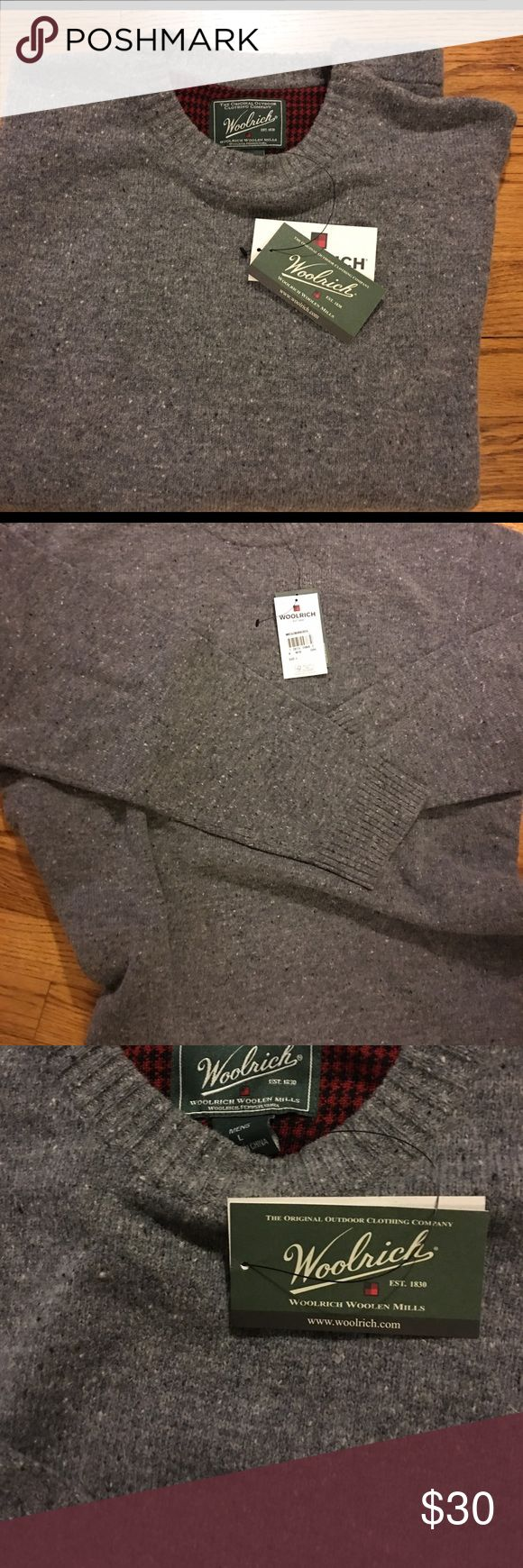 Brand New Men's Woolrich Sweater Gray Heather Wool Never Worn Men's lambwool Heather gray crew neck sweater — red houndstooth in the neckline. Perfect for the winter.. even better under the tree! What a great gift  Woolrich Sweaters Crewneck