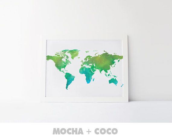 Watercolor Green World Map Printable Poster Map by MochaAndCoco