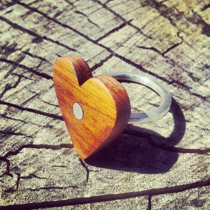 ring silver trä wood