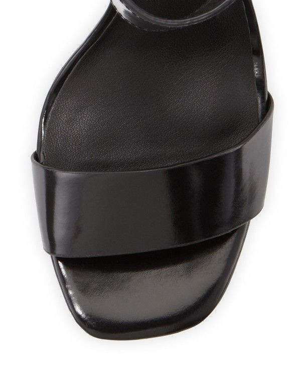 Halston Heritage - Marylan Mirrored-Leather Flat-Heel Sandal