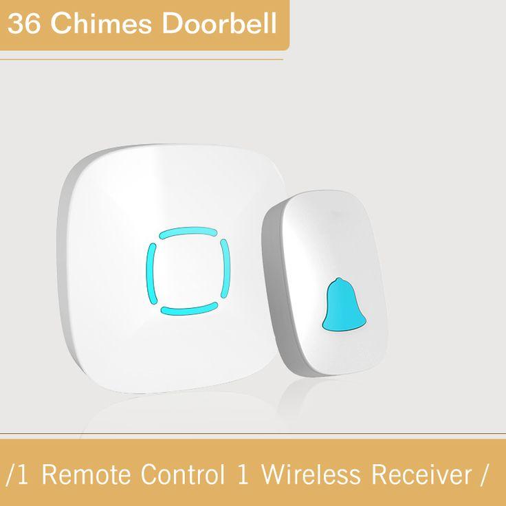 New White Wireless Doorbell Eu Us Plug Waterproof Smart 36 Melody Led Ring Door Bell Ac220v 1 Push Doorbells Button Doorbell Button Wireless Doorbell Led Ring