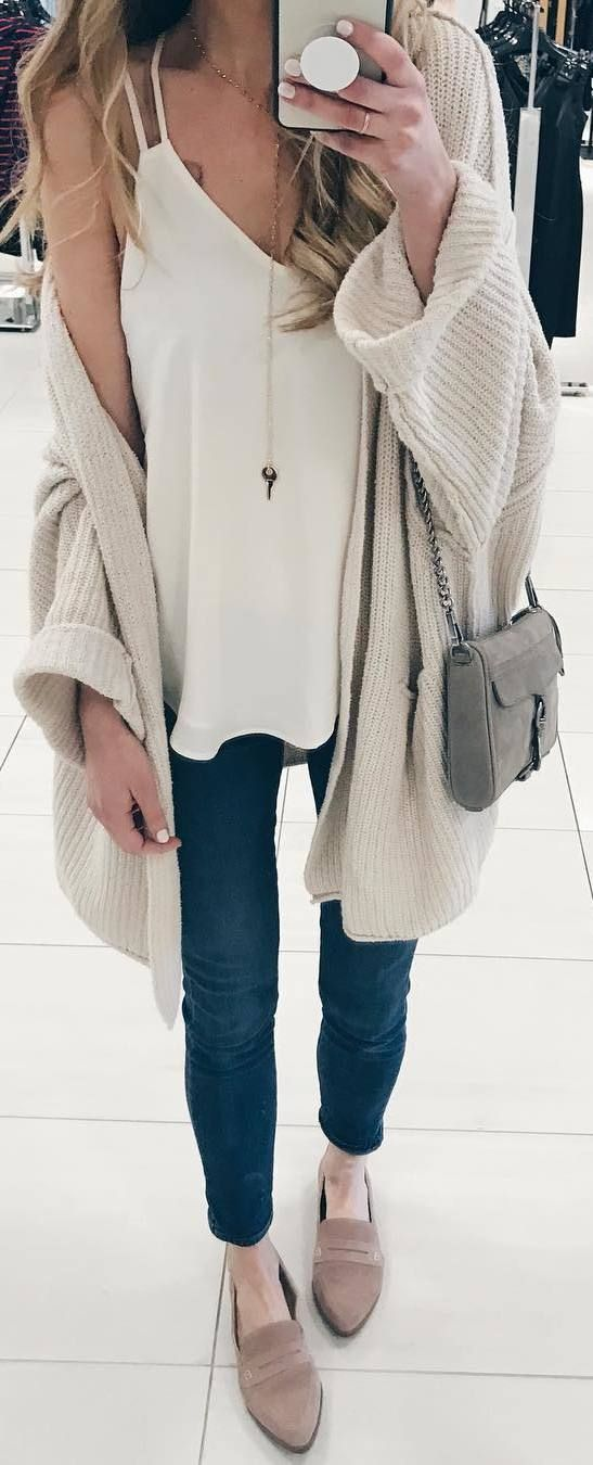 #winter #outfits white top, jeans, beige flats, cardigan