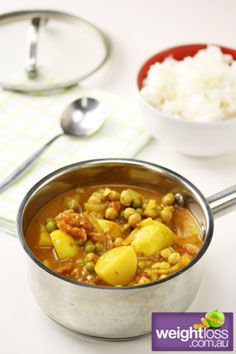 Potato, Pea and Chickpea Curry. #HealthyRecipes #CurryRecipes #WeightLoss #WeightlossRecipes weightloss.com.au