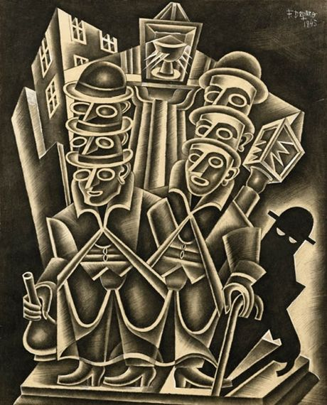 Fortunato Depero (1892-1960), 1945, Sbornia monumentale (Monumental Hangover), Charcoal and gouache on paper, 62 x 50 cm.
