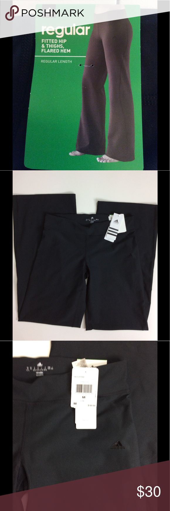 "Adidas Performance Ultimate Regular Pant, NWT Women's Adidas Performance Ultimate Regular Pant, NWT. Size medium; 15"" width, 7.5"" rise, 32"" inseam. 93% polyester, 7% spandex. Fitted hip and thighs, flared hem. Black Adidas symbol on front left hip/thigh. Waistband pocket. adidas Pants Track Pants & Joggers"