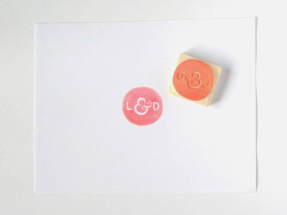Custom rubber stamp initials, monogram, seal, handcarved wedding stamp