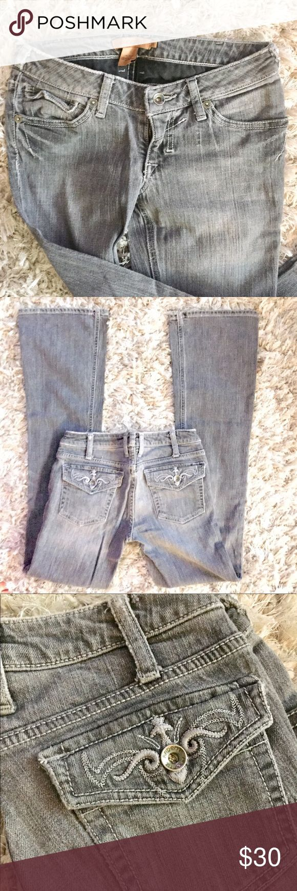 Grey Embroidered Detail Bootcut Jeans Great Condition. Gray denim color. Embroidered back pocket detail. Has some stretch to it. Super comfy.  Size 26 Inseam 32 Rise is about 6.5  Light wear on the back hem but not very noticeable.  Smoke/Pet Free home Arden B Jeans Boot Cut