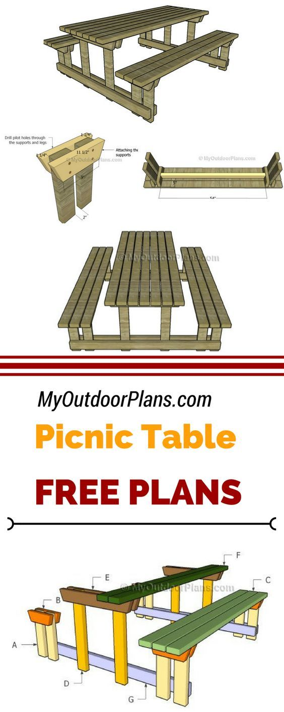 Learn how to build this picnic table with detached benches using my step by step and free plans! I have design this table so you can get the job done using just 2x4 lumber at myoutdoorplans.com #picnictable #diy