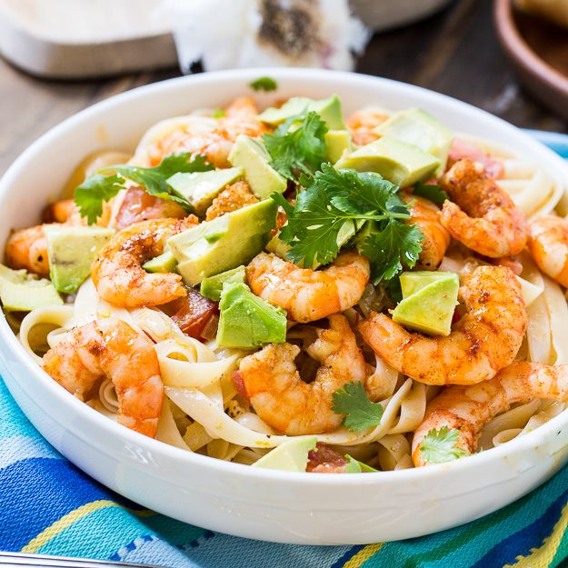 Avocado, Shrimp, and Tequila Fettuccine