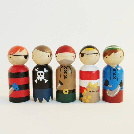 set of 5 pirate peg dolls with felt roll up sleeping by PegandPlum