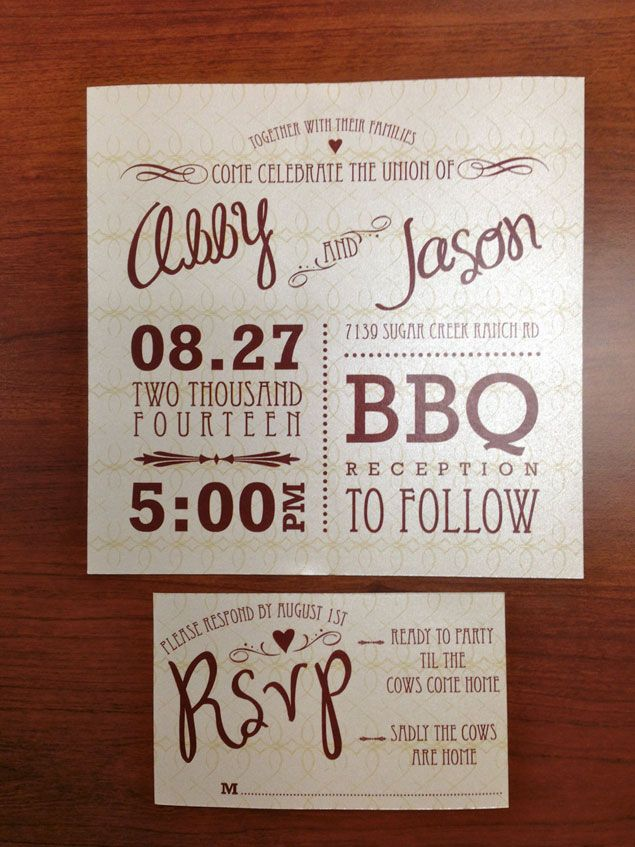 BBQ Wedding Invitations | PHOTO SOURCE • CAROLINA BREWED ...