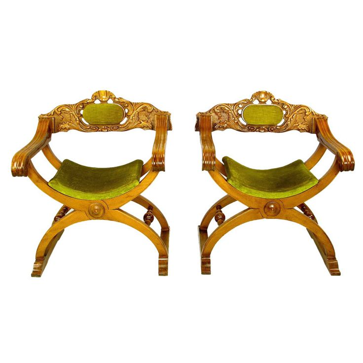 Pair Italian Curule Campaign Chairs In Wood Amp Chartreuse