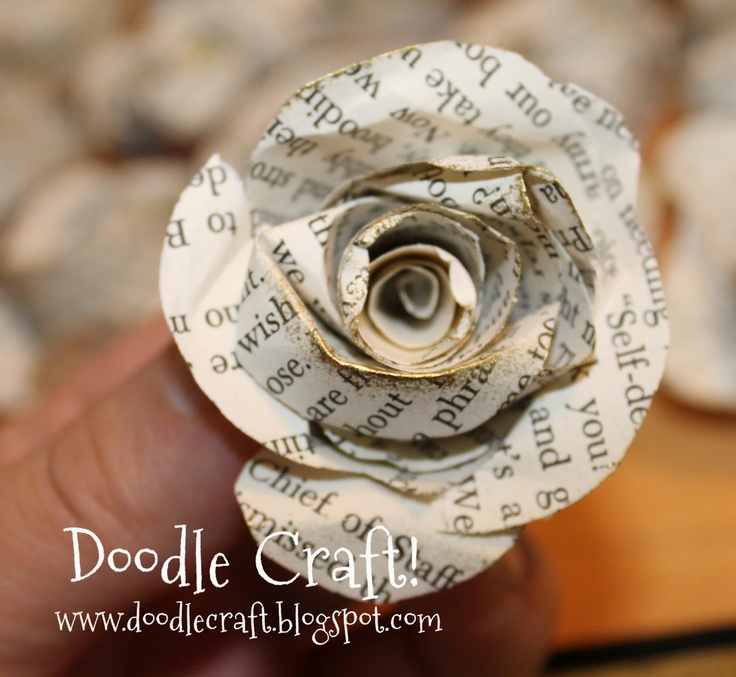 Doodle Craft teaches you how to make Upcycled Book Page Rosettes. Great for wreaths and centerpieces!