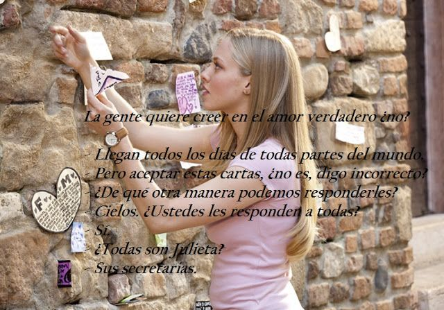 El camino hacia el amor: Cartas a Julieta... Lejos mi peli favorita!Ya tien...