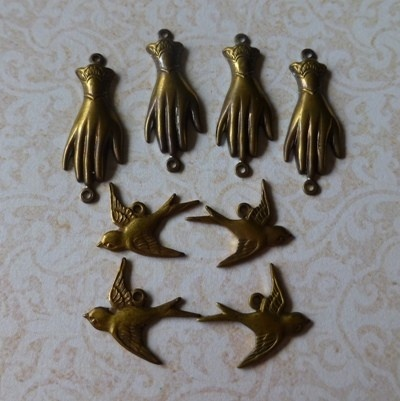 4 x Swallows and 4 x Gloved Hand Charms - Solid Brass Hand Antiqued - by eclecticmoi on Craftumi