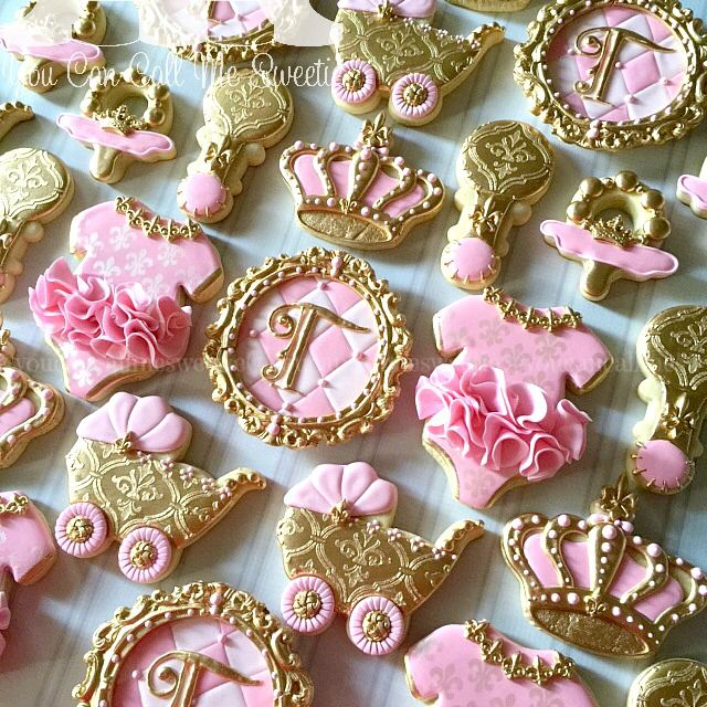 Princess Pink Gold Baby Shower Cookies | Shower | Pinterest | Gold Baby  Showers, Baby Shower Cookies And Princesses