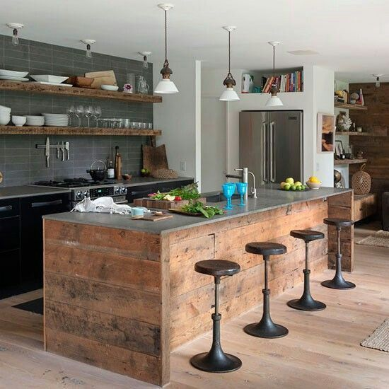 This one is a bit rustic but good overall aesthetic; simple black cabinets, grey tiles, open wooden shelves & other wood accents (breakfast bar & stools)