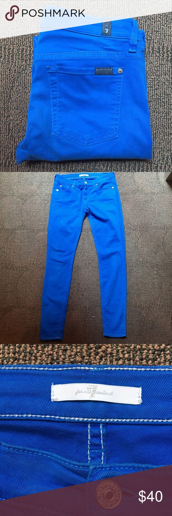 7 for all mankind Royal Blue Stretch pants Amazing stretch jeans from 7 for all mankind -- bright royal blue color -- perfect for summer -- no stains rips holes  tears or odors -- condition is built into the price 7 For All Mankind Jeans Skinny