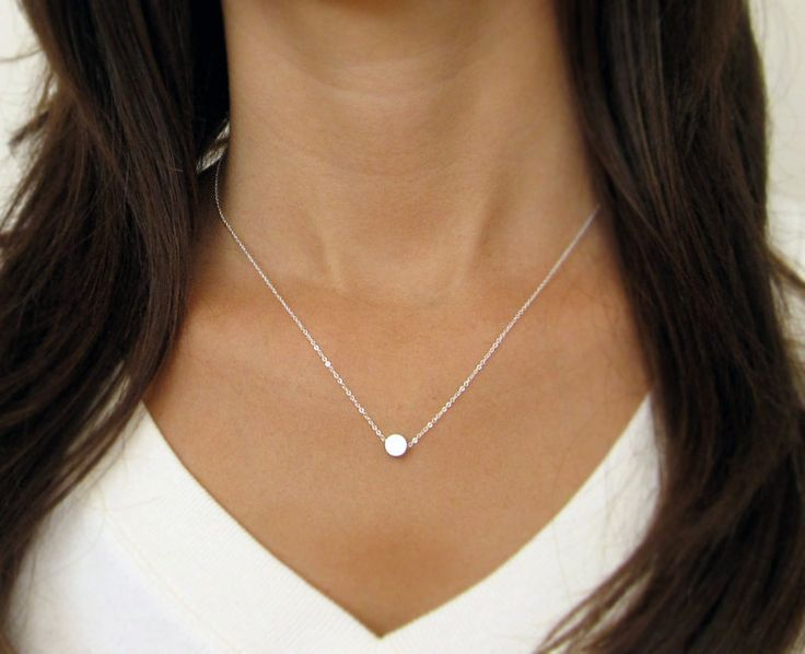 Tiny Silver Dot Necklace / Small Circle Necklace/ Simple Silver Necklace. $24.00, via Etsy.